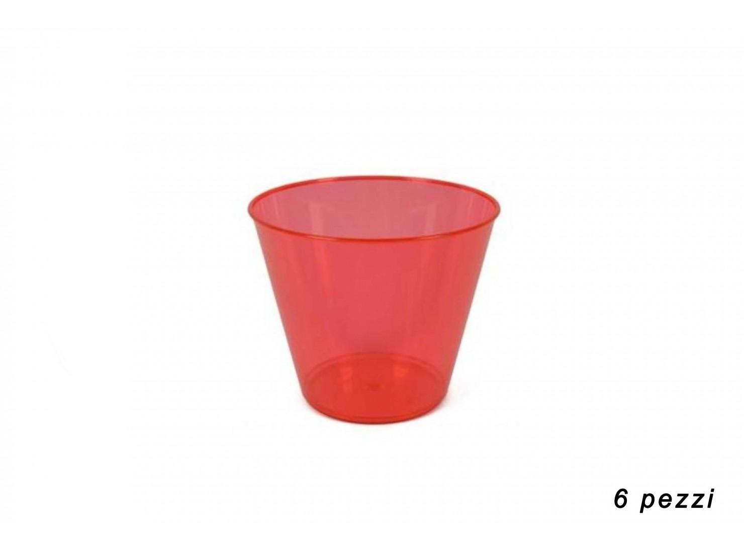 COPPA GELATO PLAST. ROSSO 6 PZ