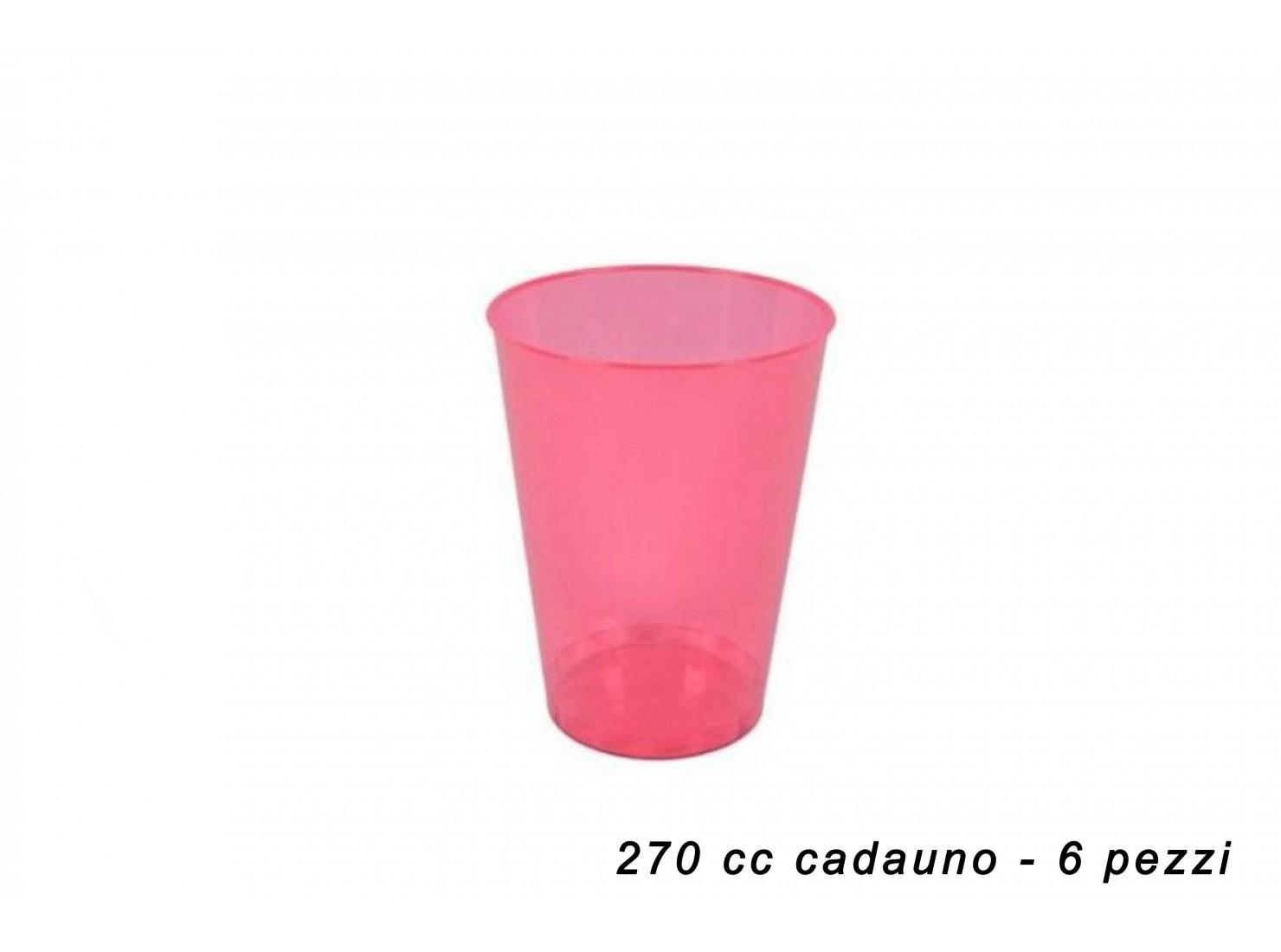 BICCHIERI PLAST. ROSA 270...