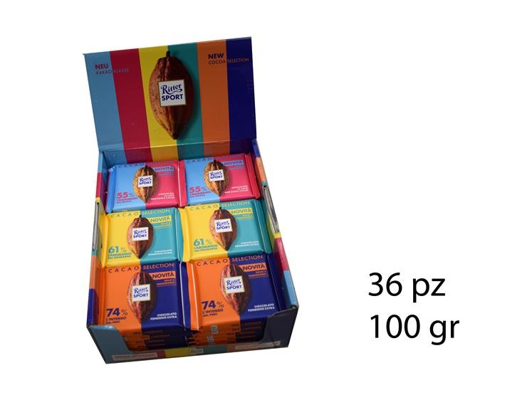 EXPO RITTER SPORT 100GR 36PZ CACAO SELECTION@