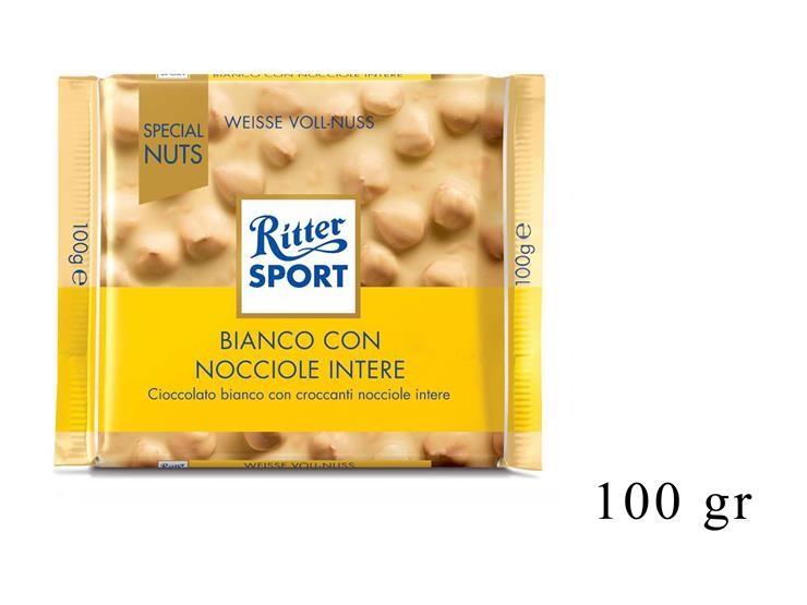 RITTER SPORT BIANCO CON NOCCIOLE INTERE 100GR@