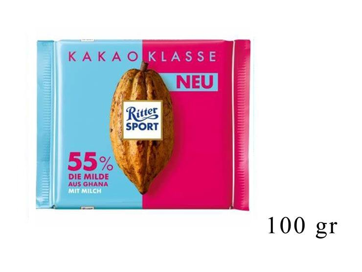 RITTER SPORT CACAO SELECTION 55% CIOCC LATTE EXTRA CACAO@
