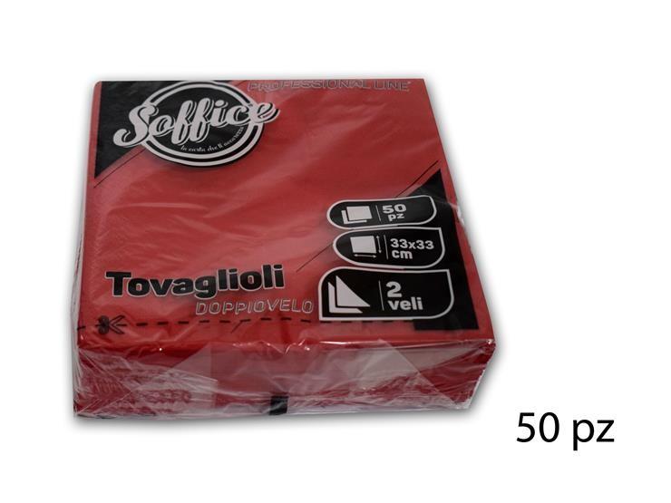 TOVAGLIOLI SOFFICE 33*33 ROSSO 5OPZ