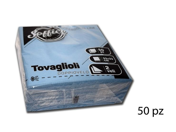 TOVAGLIOLI SOFFICE D/V 33X33 CELESTE 50PZ