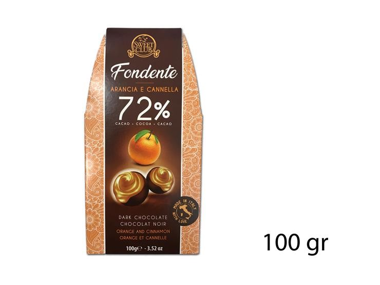 PRALINA FOND. 72% ARANCIO/CANN 100GR SC292