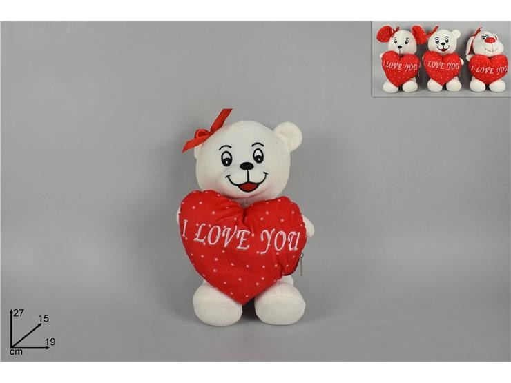ANIMALET.PELUCHE C/CUORE ROSSO 3 ASS