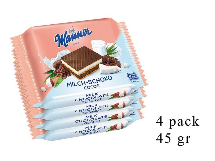 *WAFER 4PACK LATTE/CACAO/COCCO 45GR 0002901@